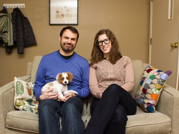 Keith (left) and Cathy Latinen of Empire! Empire! (I Was a Lonely Estate), being adorable with that dog.