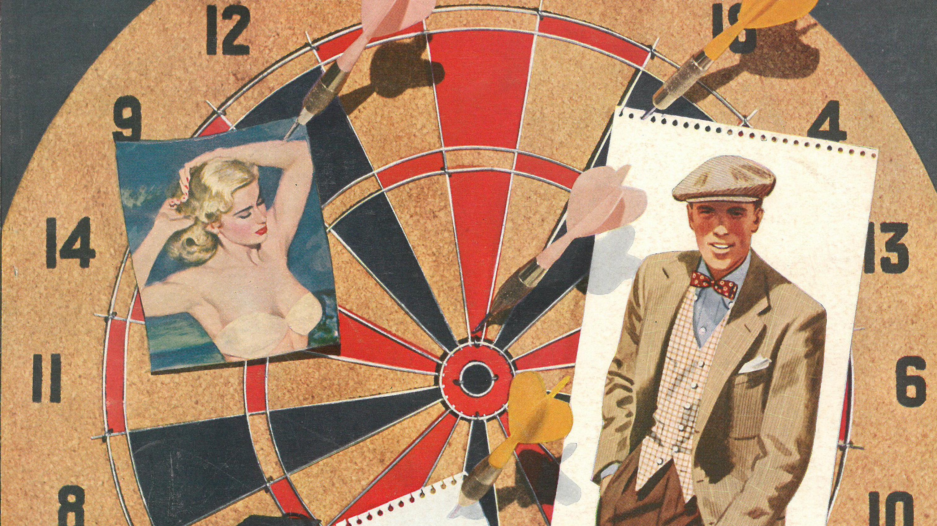 In this clip from a 1951 cover of Esquire, two of the magazine's abiding loves share a dartboard: a scantily-clad woman and a sharply dressed man. Head here to see the full cover, and many others, plucked from the magazine's archives.