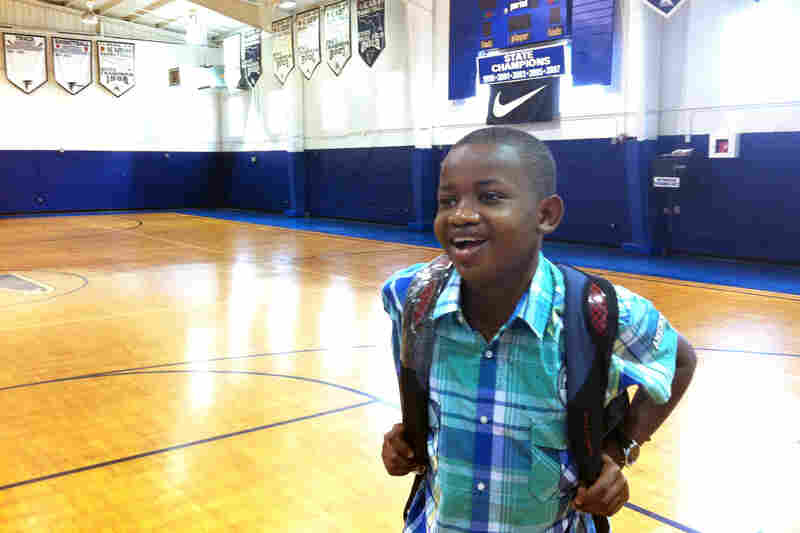 Gidori had a lot to learn at Florida Air Academy — including the fact that an 81 isn't good enough for an A. Here he is on his first day of school.