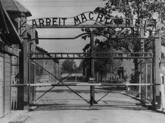 "The main gate of the Nazi concentration camp Auschwitz I in German-occupied Poland, where Johann ""Hans"" Breyer served as a guard."