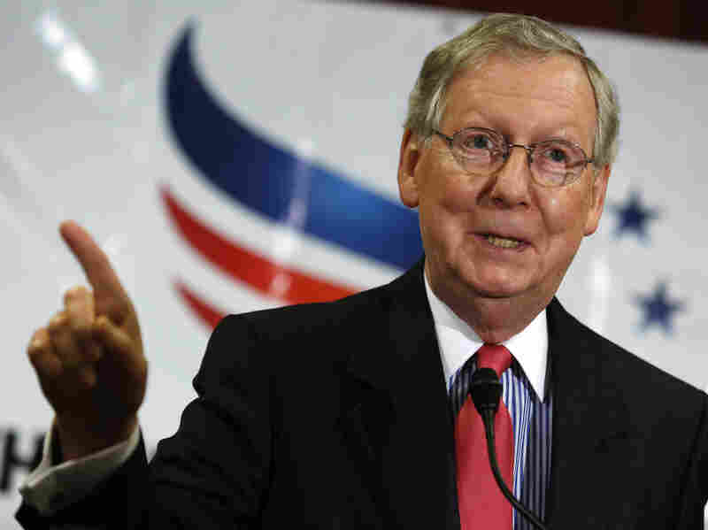 Senate Minority Leader Mitch McConnell speaks at the Faith and Freedom Coalition reception in Washington in June. On Wednesday, he appeared at a Senate rules committee hearing to oppose a campaign finance bill proposed by Democrats.