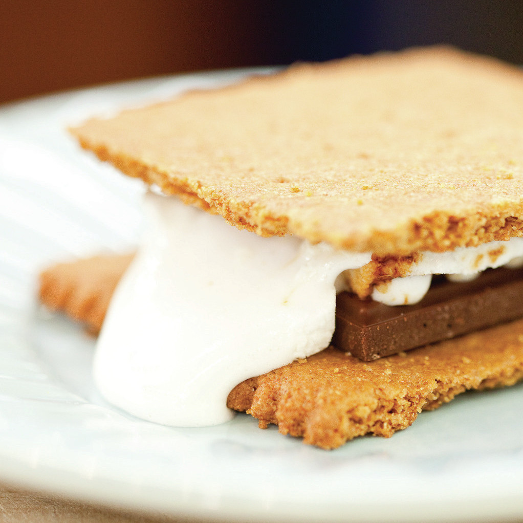 A classic s'more, made with homemade Graham crackers.