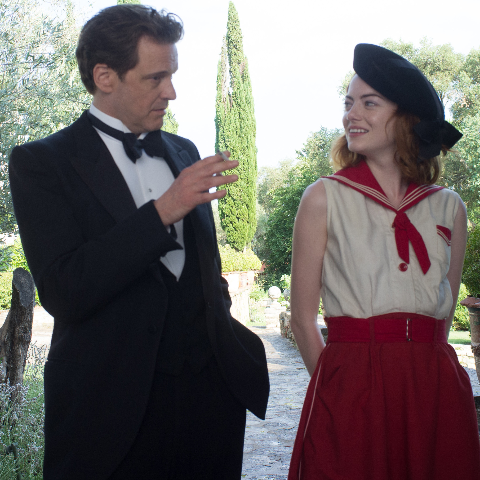 Colin Firth plays Stanley Crawford, a stage musician who sets out to debunk American mystic Sophie Baker (Emma Stone), in Woody Allen's Magic in the Moonlight.
