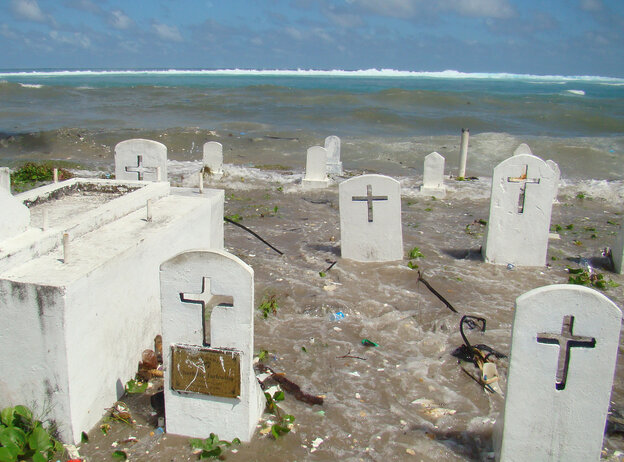 Flooding in a cemetery on Majuro Atoll in the Marshall Islands in December 2008.