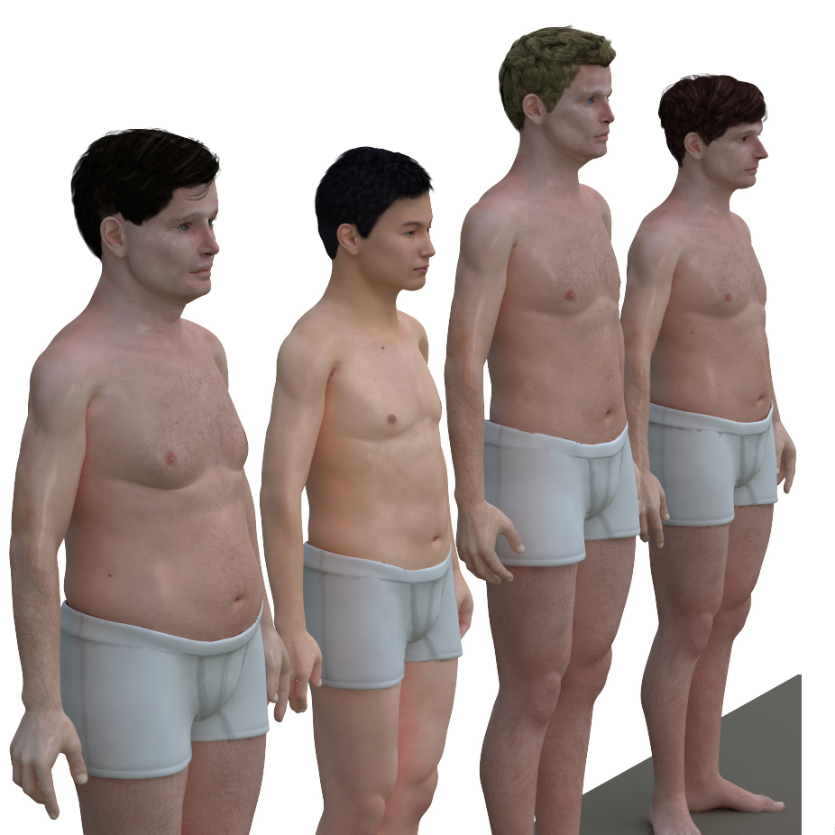 Sizes for average adult men in America, Japan, the Netherlands and France.