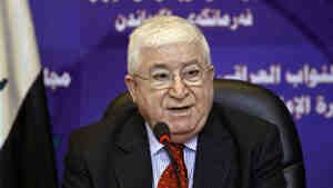 Fouad Massoum speaks to the press after an Iraqi Parliament session in Baghdad in 2010. Massoum, a Kurd, has been elected to the largely ceremonial post of president in Iraq.