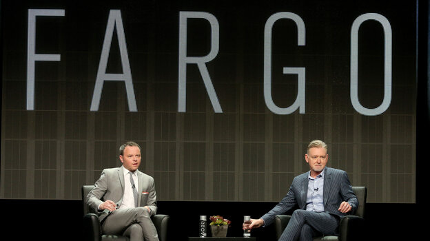 Noah Hawley (left) and Warren Littlefield, executive producers of the FX series Fargo, speak at the Television Critics Association's summer press tour.