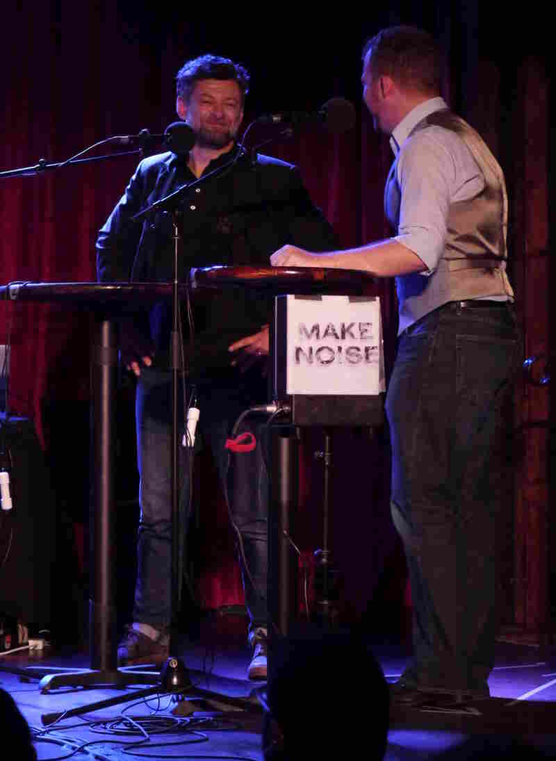 """Andy Serkis adeptly describes British slang like """"dummy"""" and """"codswallop"""" to contestant Topher Ziobro, on stage at The Bell House in Brooklyn, NY."""
