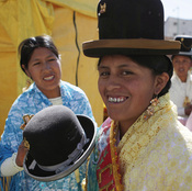 An Aymara woman prepares to take part in a pageant in La Paz, Bolivia, in 2013. Jaqi-Aru, a community of volunteers is working on translating the Facebook interface in the indigenous language of Aymara.