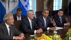 At the White House on Friday, President Obama met with El Salvador's President Salvador Sanchez Ceren (from left), Guatemalan President Otto Perez Molina and Honduran President Juan Orlando Hernandez to discuss the border crisis.