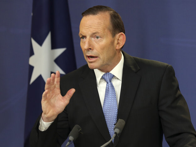 Australian Prime Minister Tony Abbott speaks during a news conference in Sydney last week. Abbott has announced the deployment of 190 police to help secure the MH17 wreckage site, where 37 Australia