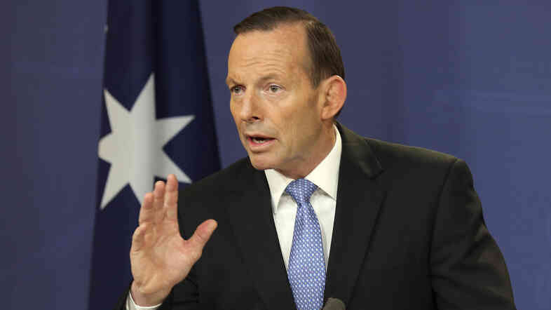 Australia's Prime Minister Tony Abbott speaks during a news conference in Sydney, Australia, last week. Abbott has announced the deployment of 190 police to help secure the MH17 wreckage site, where 37 Australians were killed.