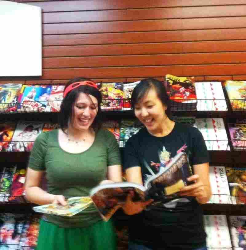 Zephi Friel (left) and Esther Kim (right) work at Fantom Comics, in Washington, D.C.