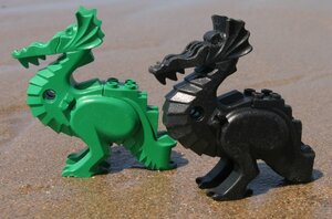 These Lego dragons washed up at Bigbury-on-Sea, on the south coast of Devon, England in the late 1990s.
