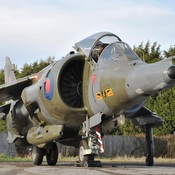 A 1976 Hawker Siddeley Harrier GR3 Jump Jet sold at the Silverstone Auctions Saturday for the equivalent of $179,611.