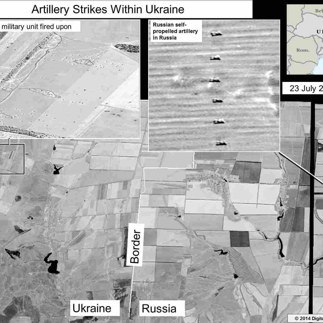 An image released by the U.S. State Department shows what it says is evidence of Russia firing artillery into eastern Ukraine.