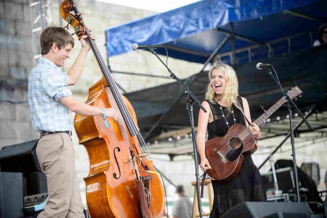 Aoife O'Donovan performs with bassist Paul Kowert at the 2014 Newport Folk Festival.