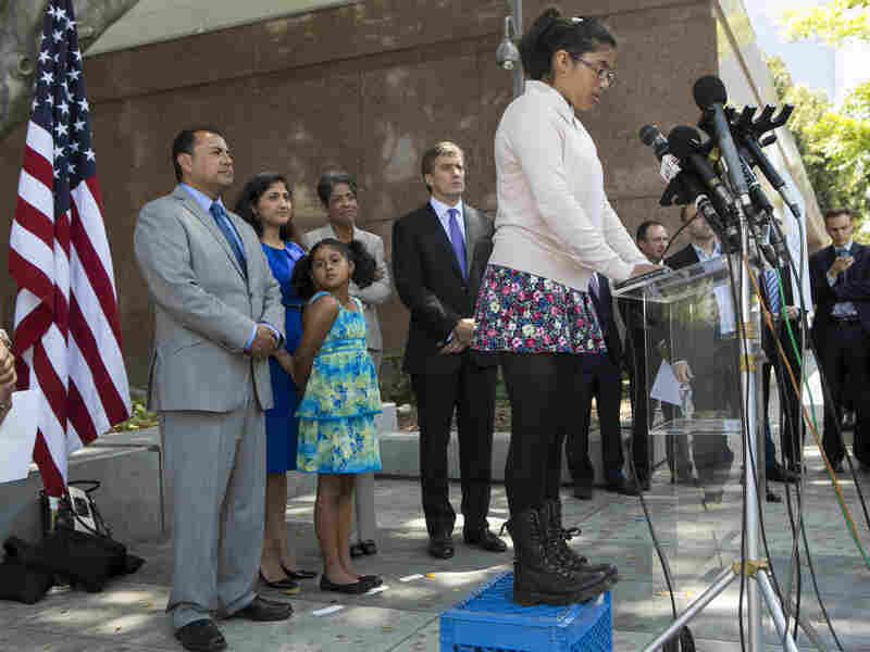 Julia Macias, a plaintiff and Los Angeles Unified School District middle school student, comments on the Vergara v. California lawsuit verdict in Los Angeles.