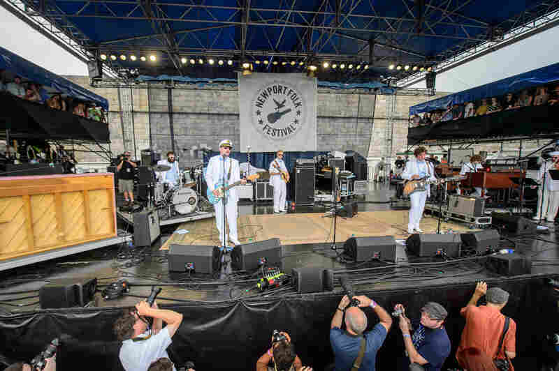 The Rhode Island-locals in Deer Tick came out dressed in sailor garb for their Saturday set.
