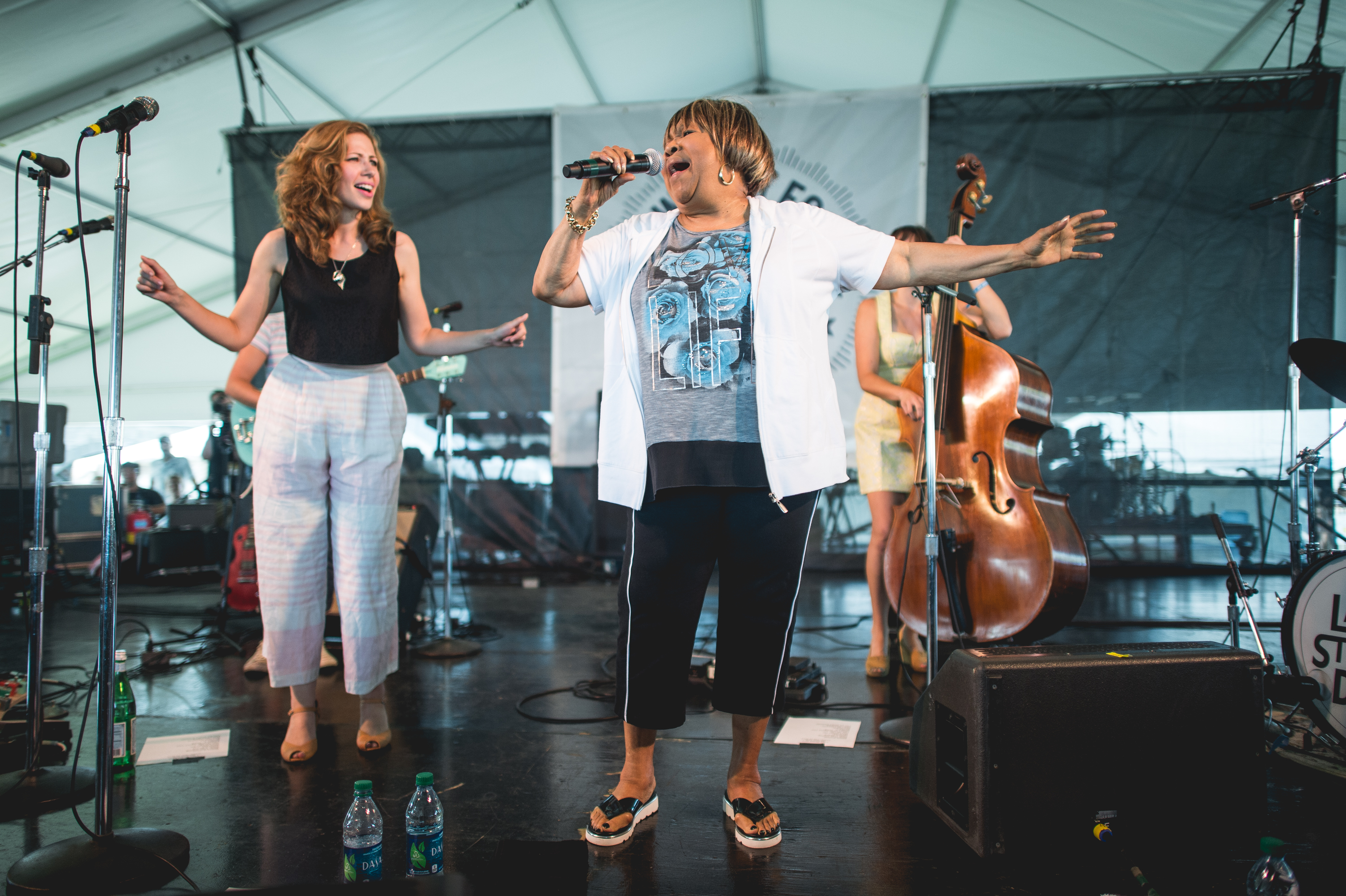 Mavis Staples turns up again: Here, the Newport Folk MVP sits in during Lake Street Dive's set on the Quad Stage.