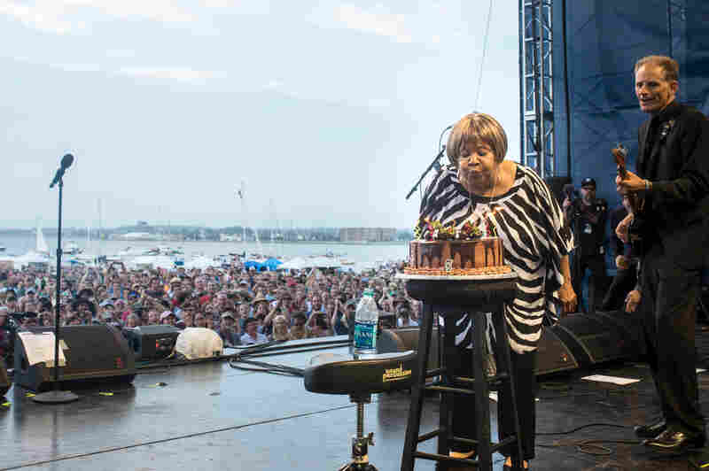 After her festival-closing performance at Newport — featuring Norah Jones, Spooner Oldham, and members of Lucius, Dawes and Trampled by Turtles — Mavis Staples celebrated her 75th birthday in style.