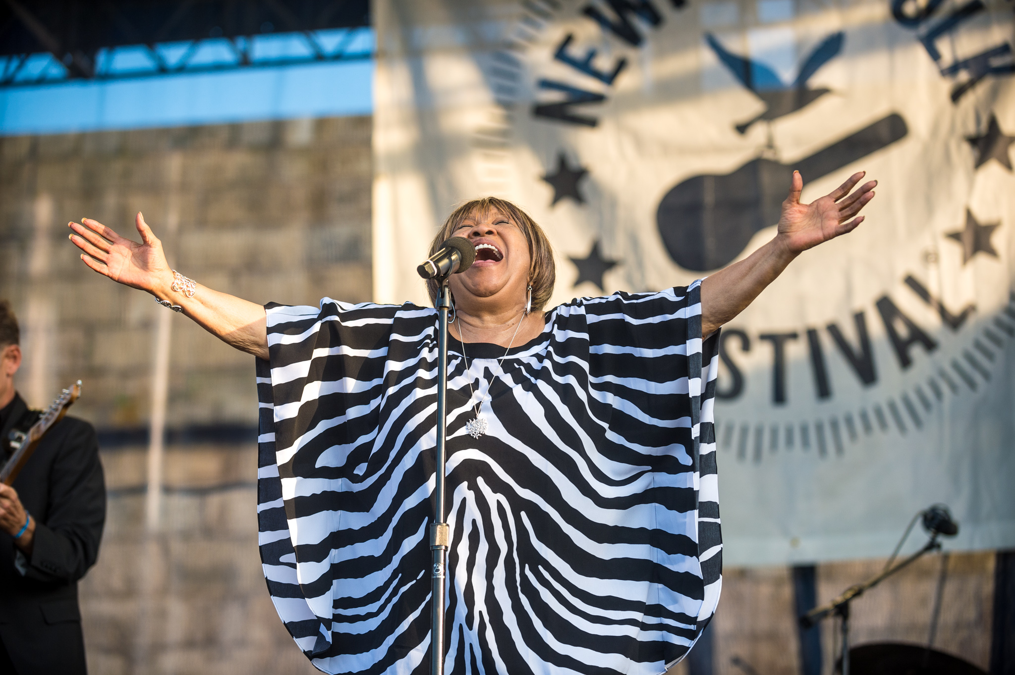 "Sunday's headliner Mavis Staples brought the Newport Folk Festival to a moving close when she led the crowd (and many of the day's performers) in ""We Shall Overcome,"" in memory of Pete Seeger."