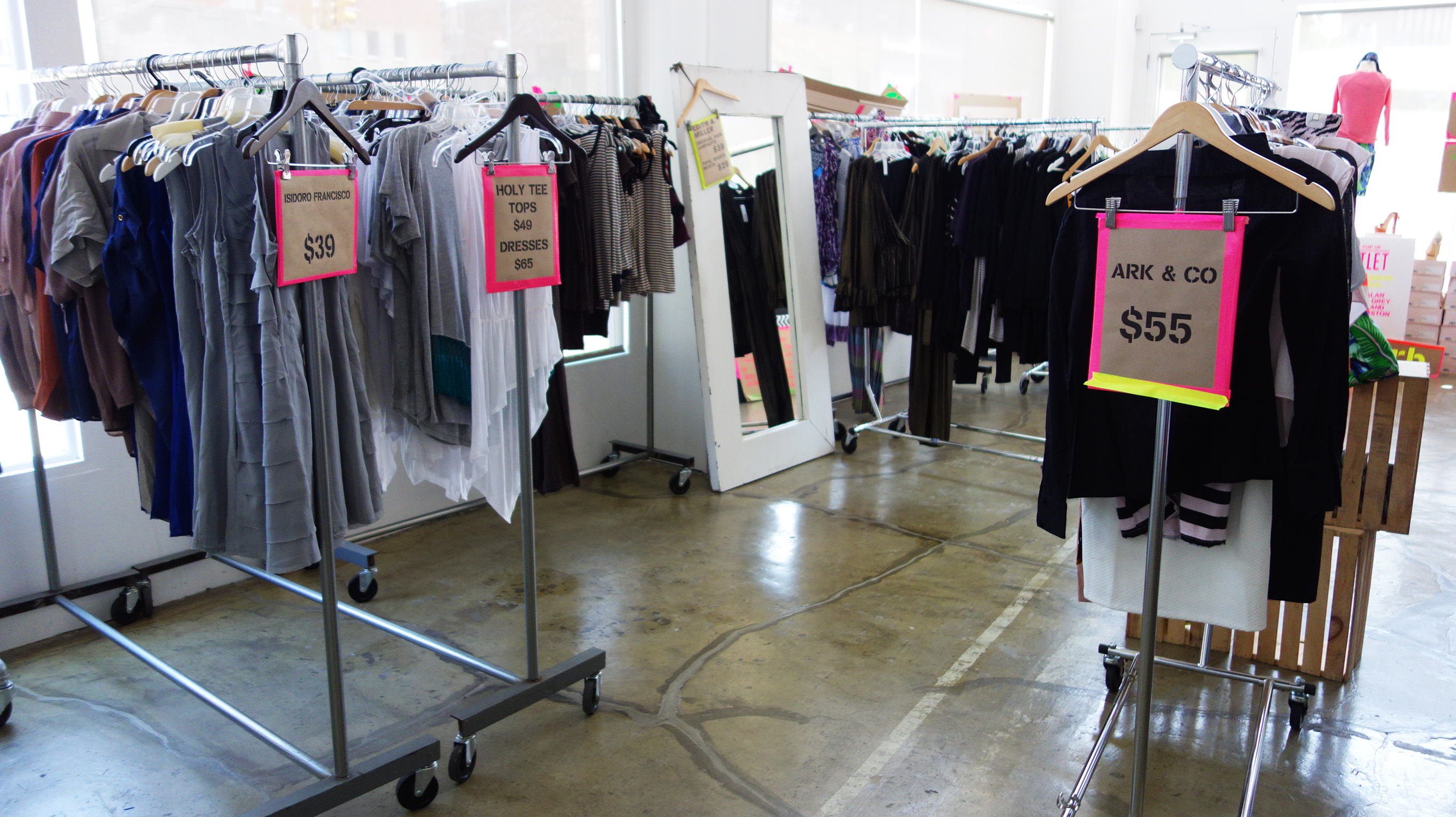 A pop-up sale in the Bowery neighborhood of New York City.