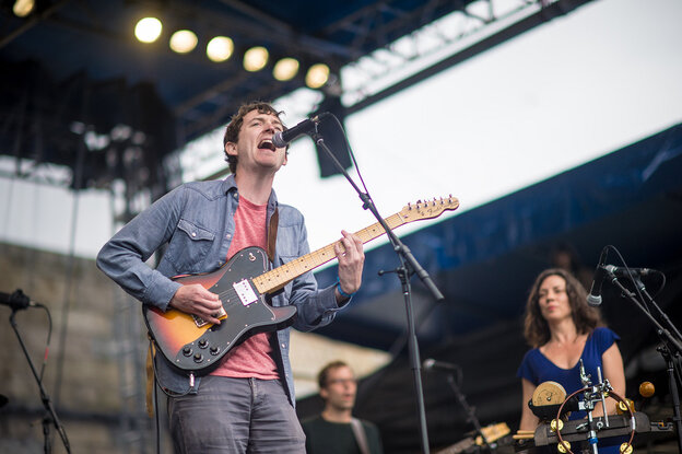 Tim Perry and the band Ages and Ages perform at the 2014 Newport Folk Festival.