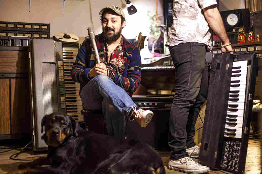 Andrija Tokic in his East Nashville studio, The Bomb Shelter.
