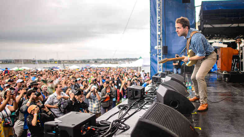 Taylor Goldsmith of the band Dawes performs at the 2014 Newport Folk Festival.