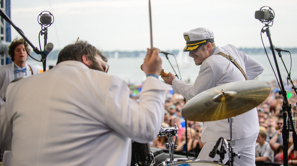 Deer Tick performs at the 2014 Newport Folk Festival. (Adam Kissick for NPR)