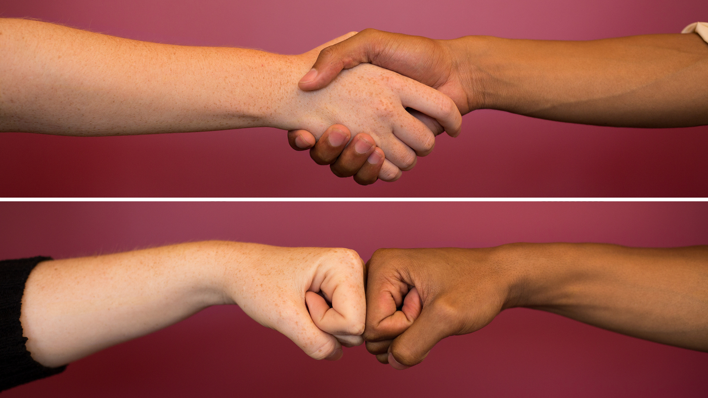 Fist bumps pass along fewer germs than handshakes goats and soda npr m4hsunfo