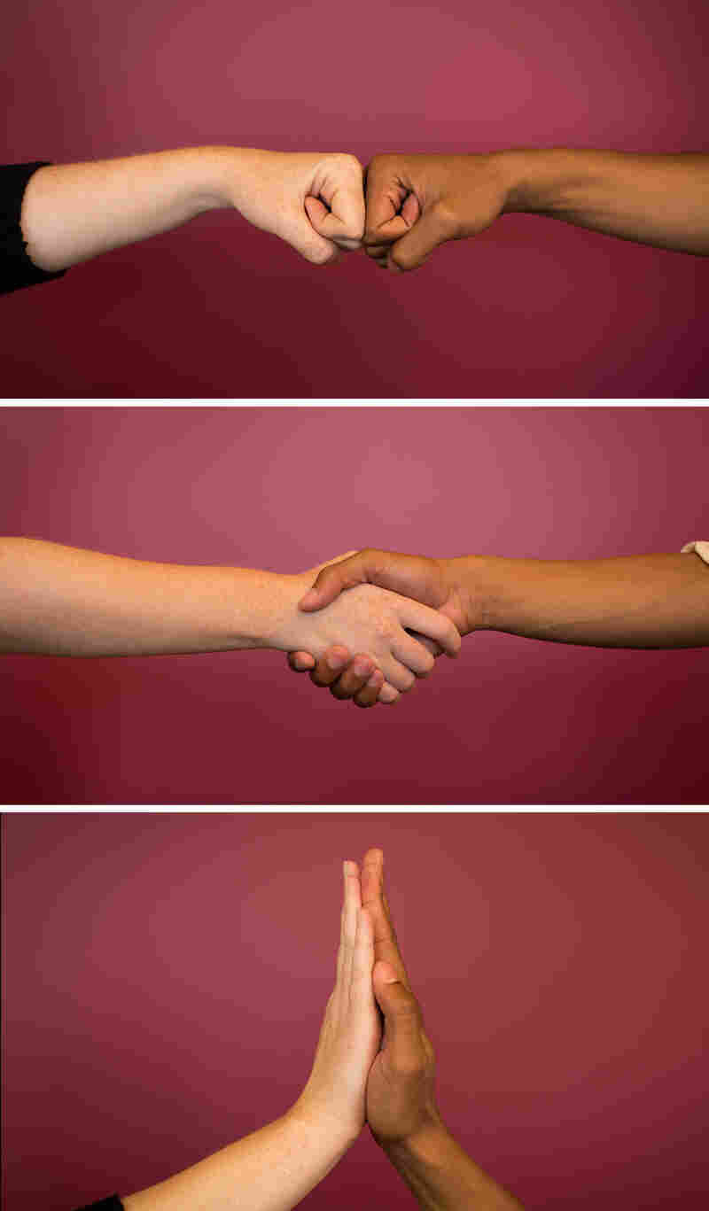 Which greeting is the cleanest? The quicker the touch, the less likely many microbes will make the jump.