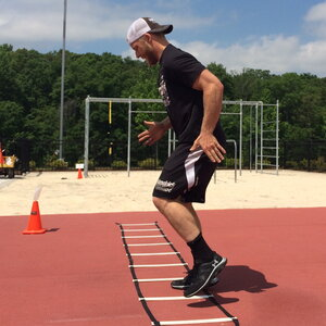 James Craig trains regularly to increase his speed and agility. As a member of a pit crew, he needs to move quickly around cars at NASCAR races.