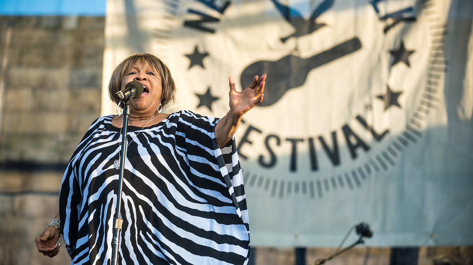 Mavis Staples performs at the 2014 Newport Folk Festival. (Adam Kissick for NPR)