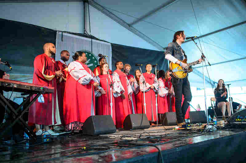 The bone-rattling voice of Hozier's Andrew Hozier-Byrne was joined by the heavenly voices of the Berklee Roots & Gospel Choir.