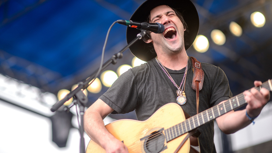 Conor Oberst performs at the 2014 Newport Folk Festival. (Adam Kissick for NPR)