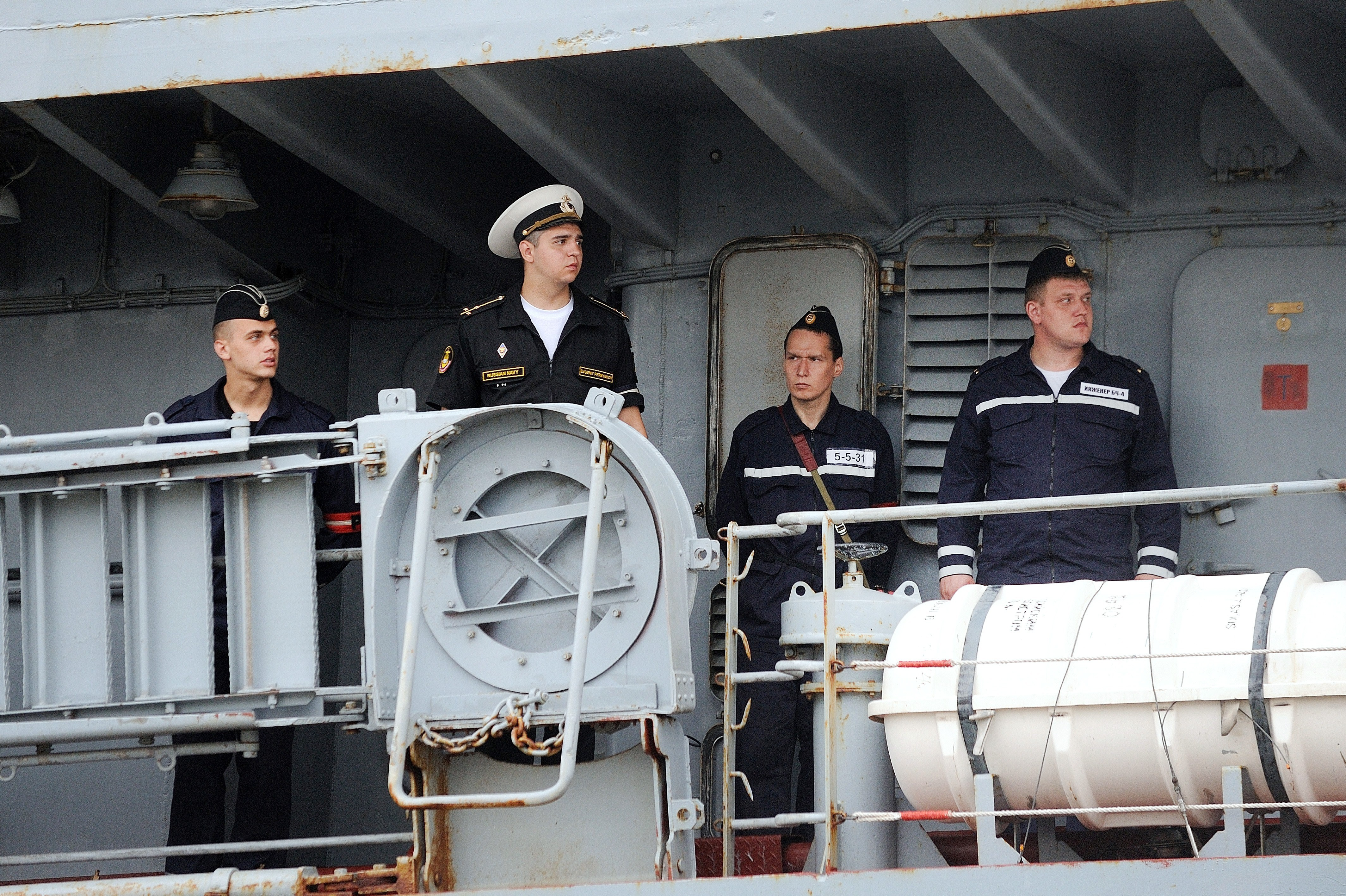 Russian sailors arrive in St. Nazaire aboard the Smolniy on June 30. They are among the 400 Russian sailors will be trained on the Vladivostok -- and who will sail the ship back to Russia.