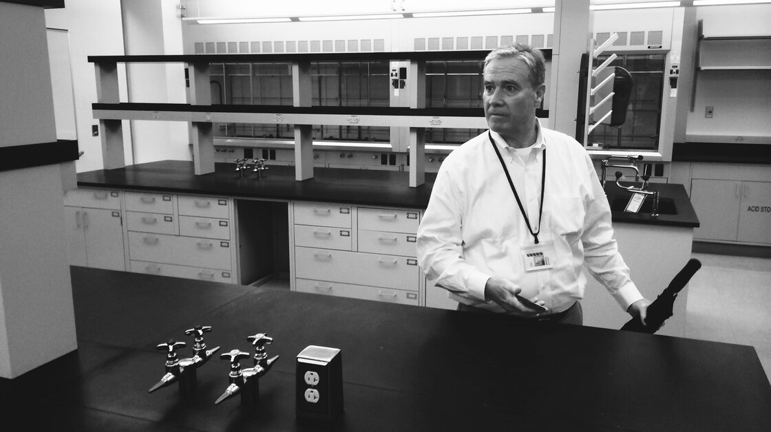Tom Stanton of the real estate firm Jones Lang LaSalle shows off empty lab space at Roche in Nutley, N.J.