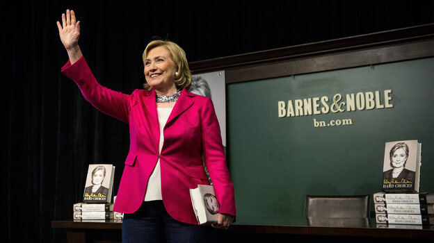 Former Secretary of State Hillary Clinton speaks to a crowd during a book signing for her new book, Hard Choices. Clinton's book tour has brought her before admiring audiences, but also highlighted her difficulty talking about her wealth and her presidential vision.