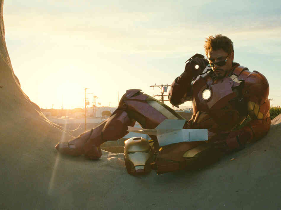 In a world of modern, nuanced, flawed screen men, superheroes like Robert Downey Jr.'s Iron Man have taken up the mantle of traditional movie masculinity, says critic Bob Mondello.