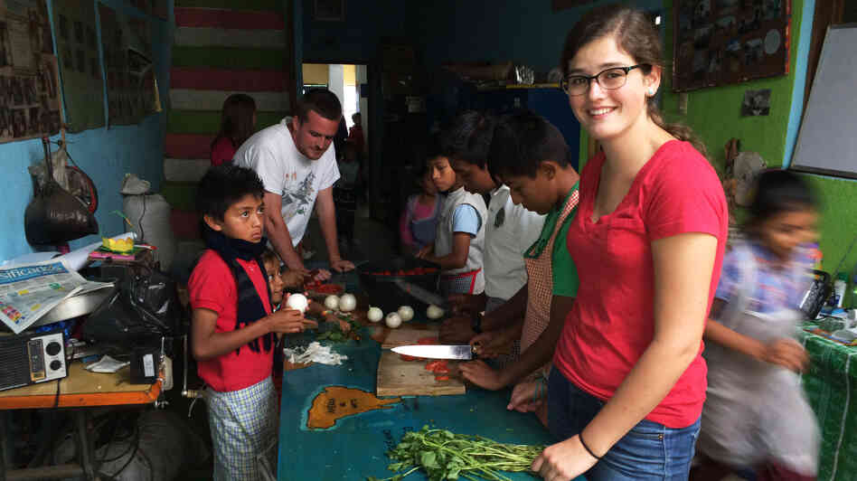 Haley Nordine, 19, is spending the entire summer at the Prodesenh center in San Mateo Milpas Altas, Guatemala. The American University student helped build the center's new library.