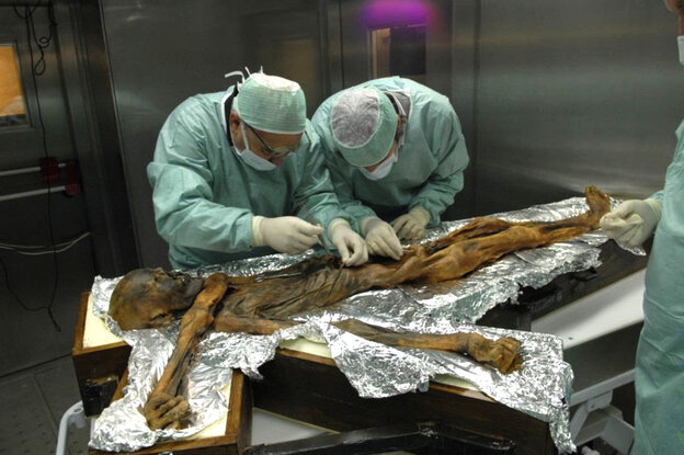Eduard Egarter-Vigl (left) and Albert Zink (right) sample Italy's mummified iceman for genetic analysis in November 2010. Previous research suggests he, too, was predisposed to heart disease.