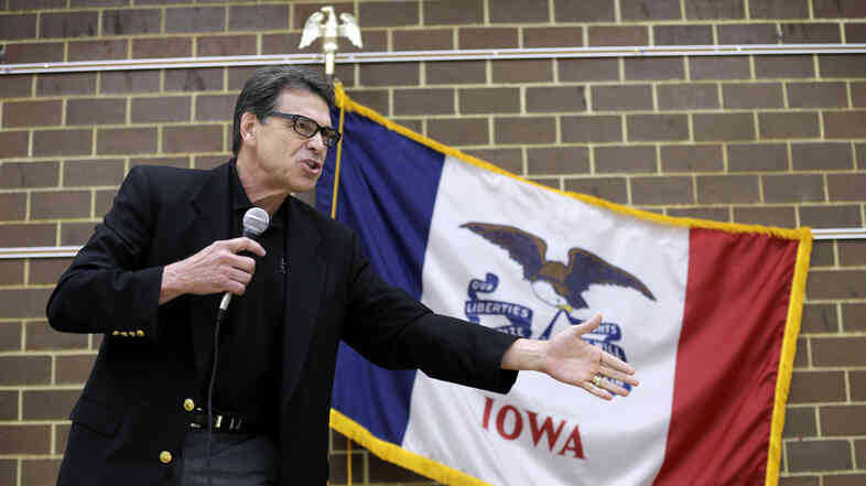 Texas Gov. Rick Perry speaks to local party activists on July 19, in Algona, Iowa. Though his 2012 presidential bid crashed, Perry is now drawing mention as a
