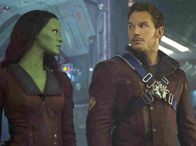 Gamora (Zoe Saldana) and Peter Quill (Chris Pratt) have some adventures together in the terrific new Guardians Of The Galaxy.