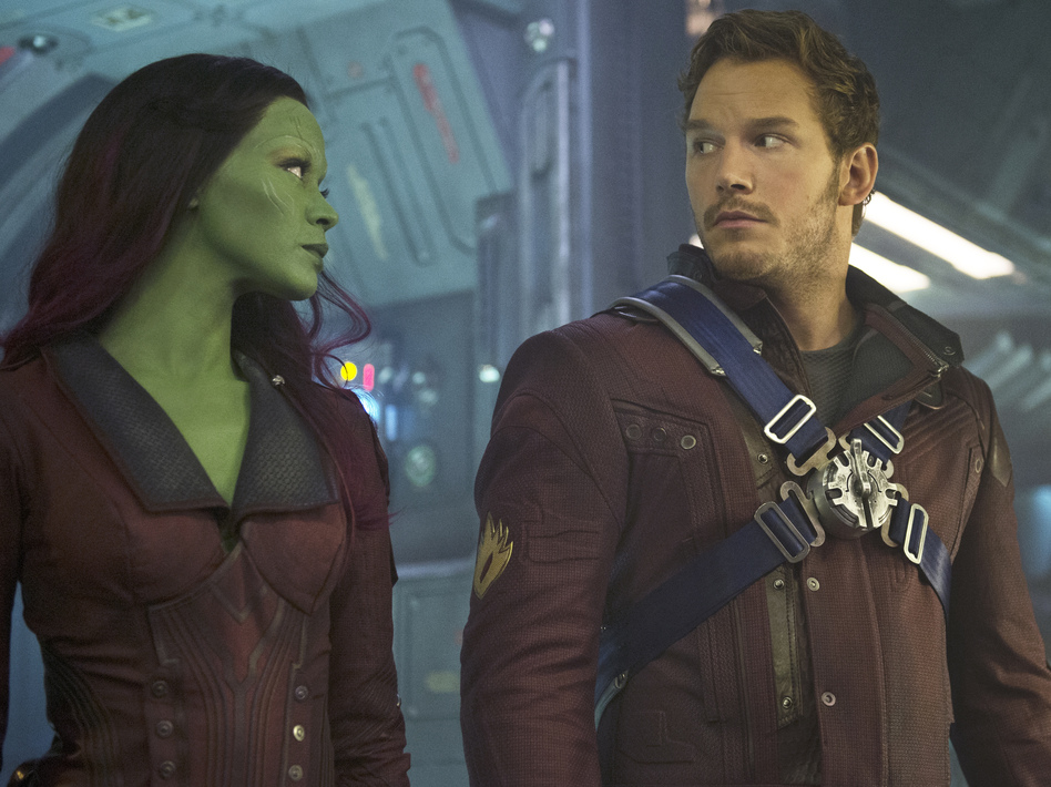 Gamora (Zoe Saldana) and Peter Quill (Chris Pratt) have some adventures together in the terrific new <em>Guardians Of The Galaxy</em>. (Jay Maidment/Marvel)