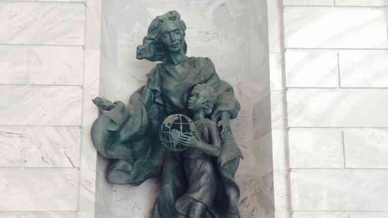 """This statue is located in Utah's Capitol building, beneath a mural of Brigham Young and the first Mormon pioneers traveling out west. """"Utah is a place that understands the value of immigration,"""" says Utah's speaker of the House, Becky Lockhart."""