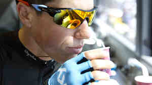 Peter Kennaugh of SKY Procycling enjoys an espresso ahead of first stage of the Tour de France 2013, in Corsica.