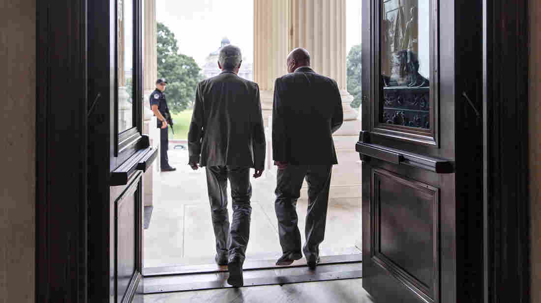 Members of the House of Representatives leave after a procedural vote on Capitol Hill in Washington on Friday, as Republicans reshaped legislation to deal with the border crisis, a day after Congress was supposed to go into its August recess.