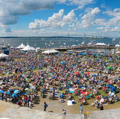 The audience at the main stage of the Newport Jazz Festival.